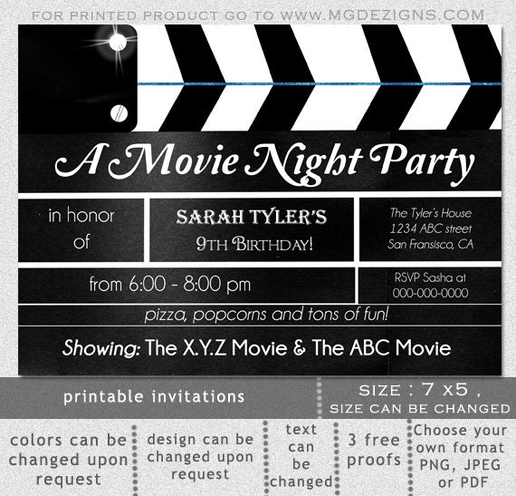 printable movie clapboard movie night birthday party, Powerpoint templates