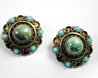 Green Turquoise Silver Vintage Clip-on Earrings Made in Israel, Handmade turquoise Earrings, Middle Eastern Turquoise Earrings