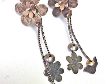 SPRING SALE Sterling Silver with Gold Flower and Bird Earrings Handmade Vintage Earrings, Bird Earrings