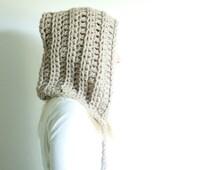chunky crochet hat hood pixie hat - linen