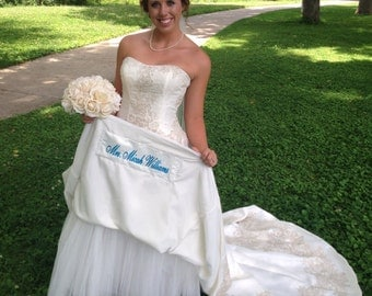 Name Patch for Hem of Wedding Dress , Wedding Dress Label ~ Something Blue name sash on your Wedding Day