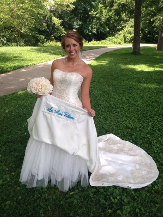 Satin Wedding Dress Label Something Blue On Your By Captonrob