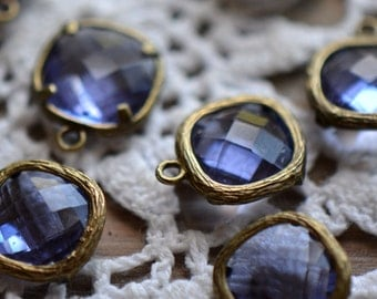 Wholesale Lot - Square Jewel Charms TANZANITE Drop Gem Jewels Square 12mm Antique Bronze Plated Brass Bezel Light Purple (AX025)