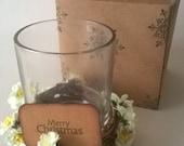 Christmas Gift, Tea Light Holders with Cream Flowers