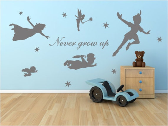 peter pan wall decal never grow up mural stickers wall. Black Bedroom Furniture Sets. Home Design Ideas