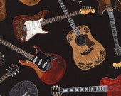 Timeless Treasures - Tossed Guitars - Black - Novelty Music Fabric - Choose Your Cut 1/2 or Full Yard