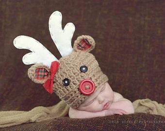 Christmas hat, baby hat, newborn girl hat, reindeer hat, crochet reindeer hat, rudolph hat, girls reindeer hat