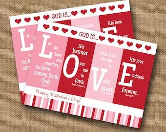 "Printable Valentine Card | Christian, Scripture, Bible Verse Valentine | DIY PRINTABLE | ""God is Love"" | Instant Download"