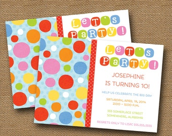 Rainbow Birthday Party Invitation   Rainbow Dots Invite   Cute Primary Color Party for Kids   Colorful Polka Dots Invitation   DIY PRINTABLE