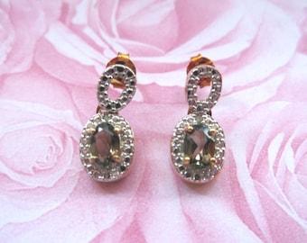 Vintage Topaz Earrings - Gold Over 925 Sterling Silver