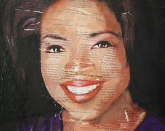 Oprah Winfrey Original Mixed Media Painting Portrait