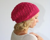 Beanie Slouchy Hat Crochet Slouchy Style Hat Textured HDC Raspberry or Choose Your Color
