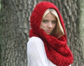 Cowl Scarf Snood Crochet Shawl Hood Scarf THE IVERSON Cranberry