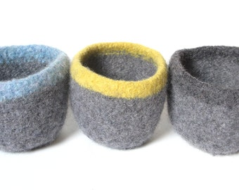 WOOLY FELTED Bowls - three felted bowls - two-toned grey with charcoal, blue and yellow 4