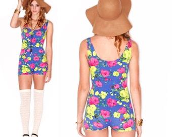 Vixen Made Neon Floral Cotton Playsuit Romper One Piece S M L Uber Soft & Stretchy