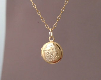 Tiny Gold Etched Flower Round Locket Necklace also in Silver