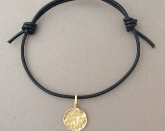 Gold Personalized Initial Letter Adjustable Leather Bracelet also in SILVER