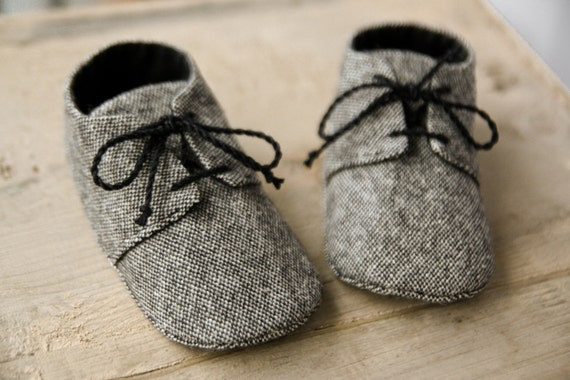 Baby boy grey tweed shoes wool fabric oxford shoes