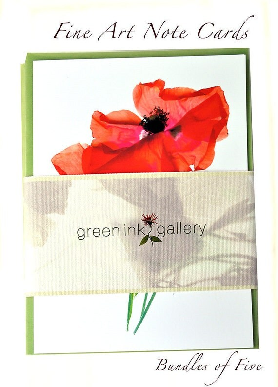 Floral Greeting Card Set of 5 Gift Under 25 Dollars