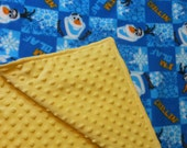 Frozen, Olaf Toddler size Fleece and Minky Blanket, Olaf Blanket, Olaf Minky blanket