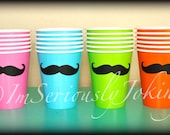 24 Mustache Paper Party Cups-Mustache Cups-Little Man Party-Mustache Party-The Handlebar- Variety of colors cups-Mustache theme-Baby shower