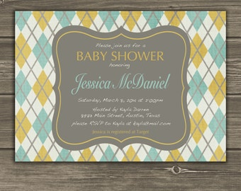 Yellow Teal Gray Argyle Baby Shower Custom Invitation Printable DIY