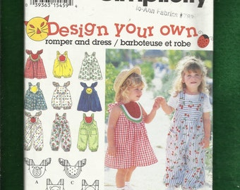 Simplicity 9008 Sun in the Fun Dresses and Rompers for Little Girls Size 2-3-4  UNCUT