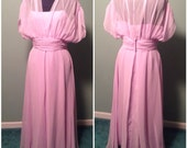 Vintage 70s Womens Lilac Purple Chiffon Full Length Dress Ruched Size Large