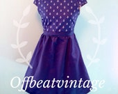Womens Navy Anchor Print Dress Vintage Inspired Peter Pan Collar Cap Sleeve Full Skirt size Medium