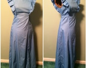 Vintage 70s Womens Blue Pinafore Dress Sleeveless Full Length Cotton Dress size Medium