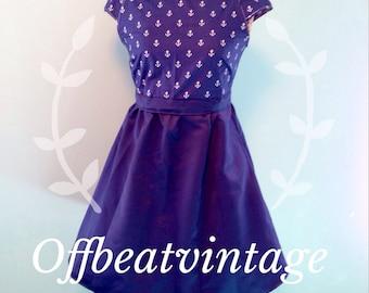 Womens Navy Anchor Print Dress Vintage Inspired Peter Pan Collar Cap Sleeve Full Skirt size Medium