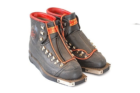 Heavy Equipment Boots : Vintage heavy leather children s olympic ski by thenewtonlabel