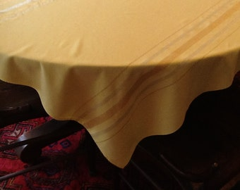 Vintage Yellow Gold Silver Thread Tablecloth