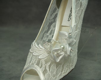 Modern Cinderella Wedding Shoes White See Thru Lace  - Mid heel Peep Toes Hand Embellished pearls & crystals heart, Lace Pump, Open Peep Toe