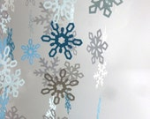 6-12 Feet 2.5 inch Paper Snowflake Garland- Silver, White, and Light Blue- Christmas Winter- Holiday, Wedding Decor, Photo booth Prop