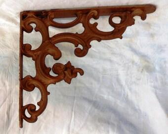 Wrought Iron Shelf Bracket Reticulated Metallic Copper Finish Architectural Decorative