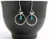 Petit Zen Silver and Turquoise Earrings, Modern Turquoise Earrings, December Birthstone Earrings Item E752