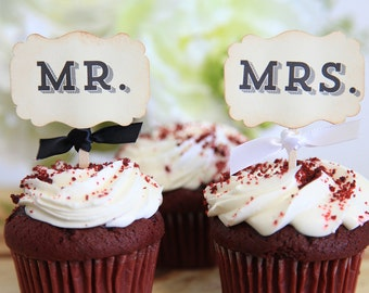 Mr. and Mrs. Cupcake toppers, Wedding, Black and white