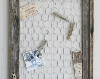 Rustic Chicken Wire Message Board with Five Distressed Clothespins