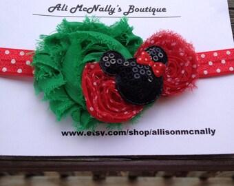 Holiday Minnie Inspired Headband, toddler headband, baby headband, Christmas headband