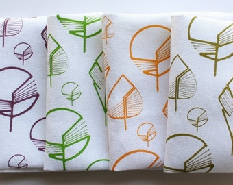 Kitchen towel hand printed with leaves - Cotton tea towels - Set x2