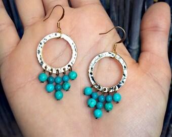 Electra - Turquoise & Gold Hoop Earrings