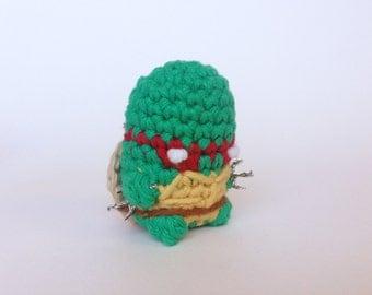 """Raphael from Teenage Mutant Ninja Turtles (TMNT) Amigurumi Kawaii Keychain Miniature Doll """"Pod People"""""""