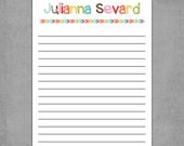 Colorful Letterhead with Matching Rainbow Arrows and Notebook Lined Paper - Personalized Custom Notepads - To Do List, Favor, or Gift.