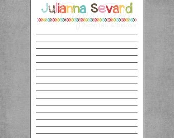 Colorful Letterhead with Matching Rainbow Arrows and Notebook Lined Paper - Personalized Custom Notepads - Design: Julianna