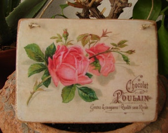 Shabby chic CHOCOLAT French advertising label, chocolate & roses decorative hanging tag