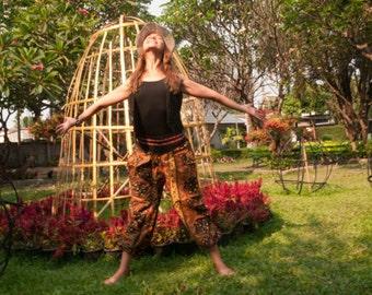 Thai  Harem Pants Batik Cotton, Black/Brown/Yellow aztec design, Ribbon waistband