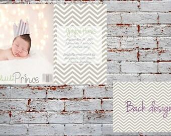 Digital Baby Birth Announcement, Custom Birth Announcement, Girl's Birth Announcement Boy's Birth Announcement Prince