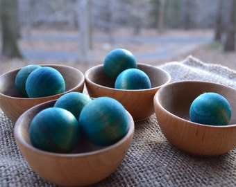 Wooden Bowls and Blueberries - For the Waldorf Inspired Play Kitchen