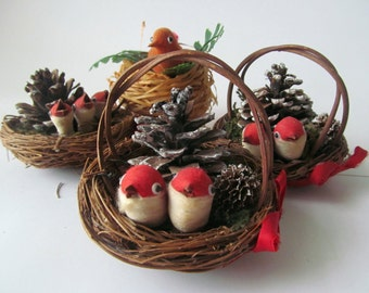 Vintage Red Bird in Nest with Pine Cone